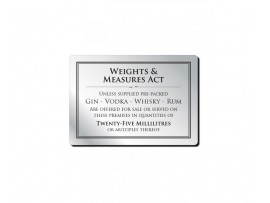 "SIGN ""WEIGHTS  MEASURE 25ML"" BLACK/SILVER"