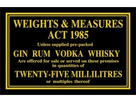 "SIGN ""WEIGHT AND MEASURE 25ML"" GOLD/BLACK"