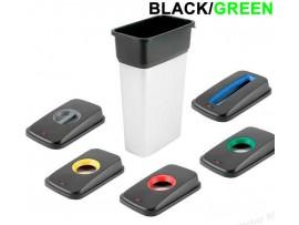 BIN LID GEO CANS BLACK/GREEN 29X49X9CM