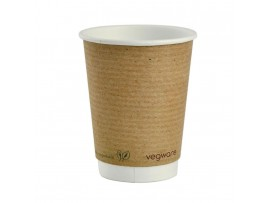 CUP DOUBLE WALL VEGWARE KRAFT 12 OZ