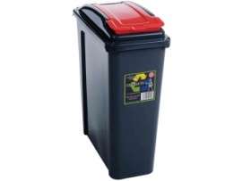 BIN RECYCLING SLIMLIME RED LID 25LT
