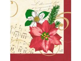 CHRISTMAS FLOWER NAPKIN 3PLY 33CM