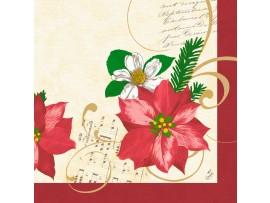 CHRISTMAS FLOWER NAPKIN 3PLY 40CM