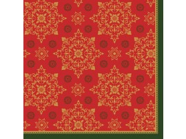 XMAS DECO RED NAPKIN 3 PLY 33X33CM